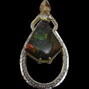 14K Yellow Gold 6 ct Ammolite Pendant Enhanced by 1 ct of Diamonds