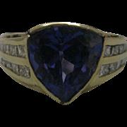 14K Yellow Gold 4.2 ct Deep Blue/Purple Tanzanite with 1 ct of Diamond