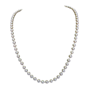 "6 MM Cultured Pearl 25"" Necklace with 14 Karat Yellow Gold Clasp"