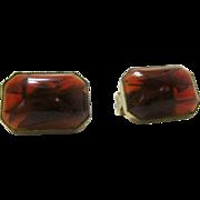 Vintage Hattie Carnegie Clip Earrings in Faux  Amber Tone