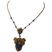 Vintage Grape Necklace with Blue Glass Beads