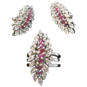 Vintage WWII Palladium Ring and Matching Earrings with Rubies and Diamonds