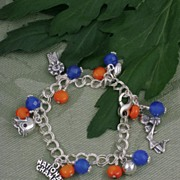 SALE Blue and Orange Celebration Charm Bracelet