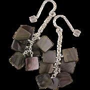 SALE Black Lip Shell Brownie Earrings in Sterling Silver