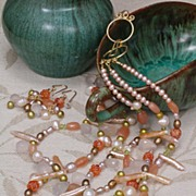 SALE Multi-Gemstone Triple Strand Necklace and Earrings Set