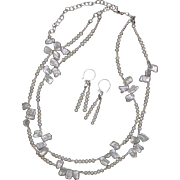 SALE White Keshi Pearls Two Strand Necklace and Earrings Set