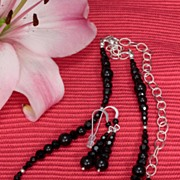 SALE Jet Black  Swarovski Crystal Necklace and Earrings in Sterling Silver