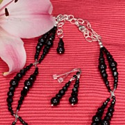 SALE Jet Black Swarovski Necklace and Earrings Set in Sterling Silver