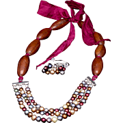 SOLD Pearls, Wood and Silk Necklace and Earrings Set