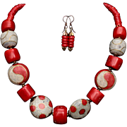 Tibetan Wooden Beads and Coral Necklace and Earrings Set
