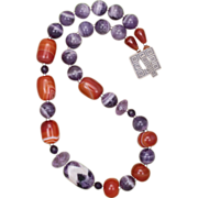 Purple Amethyst and Orange Sardonyx Necklace in Sterling Silver