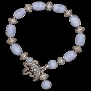 SALE Blue Lace Agate and Silver Bracelet