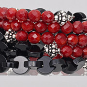 SALE Stacked Bracelet of Red Coral and Black Onyx