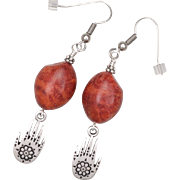 SALE Sponge Coral Earrings with Protection Hand Charm
