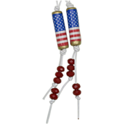 SALE Wave the Red, White and Blue! Patriotic Paper Bead Earrings (2)