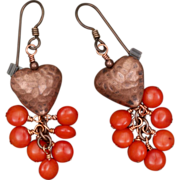 SALE Copper Heart and Coral Earrings