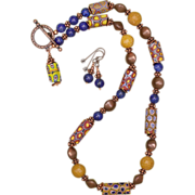 SALE Millefiori Trade Bead Necklace and Earrings