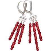 SALE Sterling Silver and Red Coral Chandelier Earrings