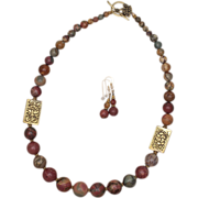 SALE Graduated Red Creek Jasper with Tibetan Brass Bead Necklace and Earrings Set