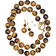 SALE Tiger's Eye Necklace and Earrings Set