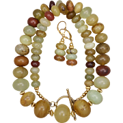 SALE Earthy Chinese Serpentine Necklace and Earrings Set