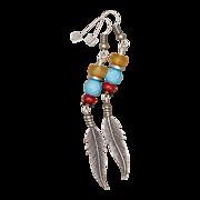 SALE Multi Gemstone Feather Charm Long Earrings