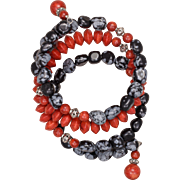 SALE Snowflake Obsidian and Sponge Coral Bangle Bracelet