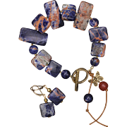 SALE Orange Sodalite Bracelet and Earrings Set