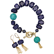 SALE Lapis Lazuli and Turquoise Bracelet and Earrings with Tassels