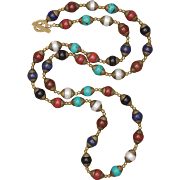 SALE Multi-Gemstone Tibetan Hand Made Bead Long Necklace