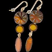 SALE Sunburst Long Earrings of Czech Glass Beads