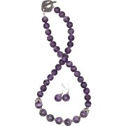 Purple Amethyst Necklace and Earrings Set