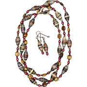 SALE Tiger Eye, Paper Beads and Winter Berries Long Necklace and Earrings Set