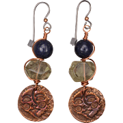 SALE Sun Moon Copper Charm Earrings