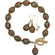 SALE Nepalese Brass Coral and Turquoise Bead Bracelet and Earrings Set