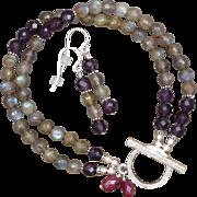 SALE Shimmering Labradorite and Amethyst Bracelet and Earrings Set