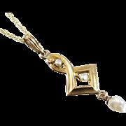 Victorian Edwardian 10k gold pearl lavalier pendant necklace