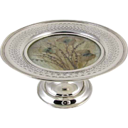Art Deco 1915 sterling silver pressed Morpho butterfly moth and milk grass under glass compote