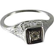 Art Deco filigree 18k white gold .06 ct diamond engagement solitaire ring