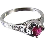 Art Deco filigree 18k white gold .22 ct ruby solitaire ring