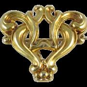 Perfect Valentine Antique Edwardian 10k gold stylized heart fleur de lis brooch pin Signed Koh