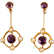 Vintage European Art Deco 15CT gold amethyst seed pearl screw back earrings