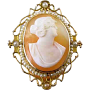 Antique Edwardian 14k gold seed pearl cameo brooch pin pendant