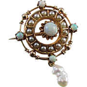 Antique Victorian 10k gold opal seed pearl brooch pin