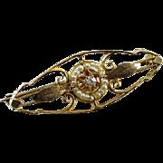 Antique Edwardian 10k gold diamond seed pearl brooch pin signed Marathon