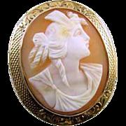Antique Victorian 14k rose gold filigree cameo brooch pin