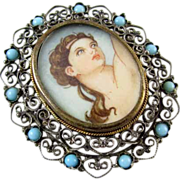 Antique Italian vintage Italy hand painted portrait pendant pin brooch Persian blue turquoise