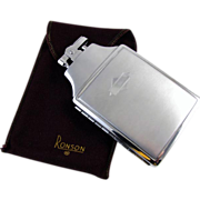 Cigarette case lighter Ronson chrome vintage Art Deco M104 C&E