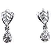 14K white gold .12ct Diamond pierced threaded screw back dangle earrings
