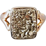 Antique Victorian pink gold pyrite fools gold druzy ring size 10